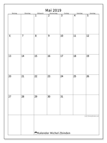 Kalender Mai 2019, 52MS. Kostenloser Zeitplan zum ausdrucken.