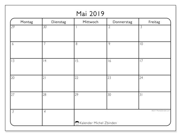 Kalender Mai 2019, 74MF. Kostenlos ausdruckbare Zeitplan.