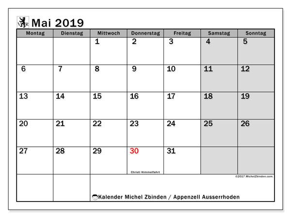 Kalender für Mai 2019, mit Feiertagen des Kantons Apenzell Ausserrhoden. Kalender für den Monat zum kostenlosen Ausdrucken.