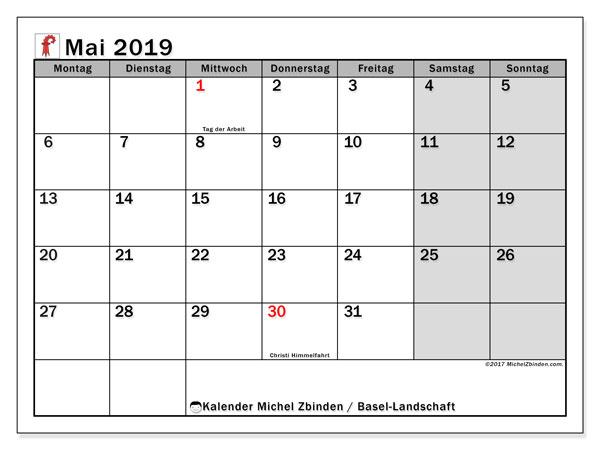 Kalender für Mai 2019, mit Feiertagen des Kantons Basel Landschaft. Kalender zum kostenlosen ausdrucken.