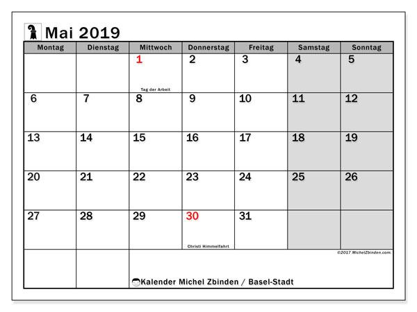 Kalender für Mai 2019, , mit Feiertagen des Kantons Basel Stadt. Kostenloser Kalender zum ausdrucken.