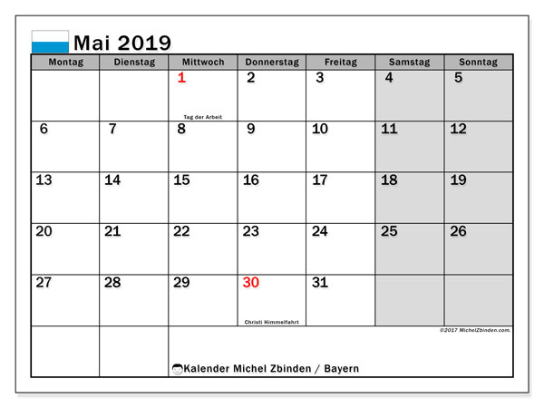 Kalender für Mai 2019, , mit Feiertagen Bayern. Monatlicher Zeitplan zum kostenlosen ausdrucken.