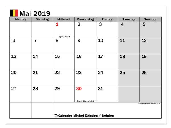 Kalender für Mai 2019, mit Feiertagen in Belgien. Zeitplan zum kostenlosen ausdrucken.