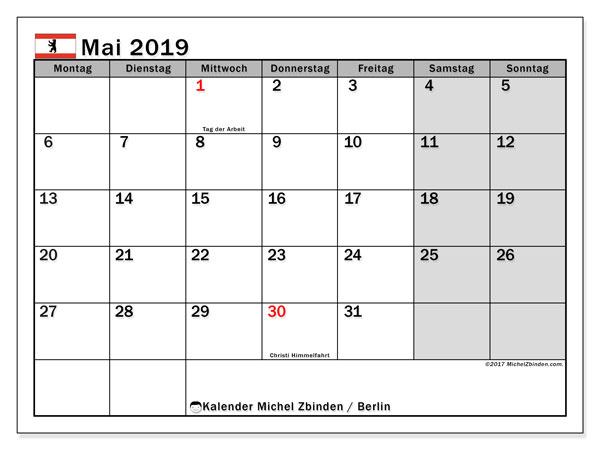 Kalender für Mai 2019, , mit Feiertagen Berlin. Kostenloser Zeitplan zum ausdrucken.