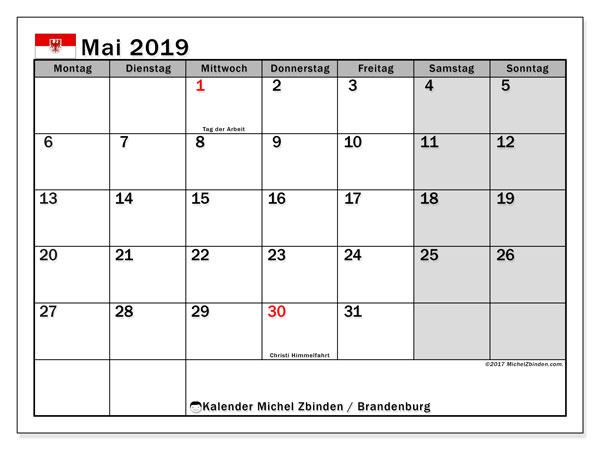 Kalender für Mai 2019, mit Feiertagen Brandenburg. Kostenlos ausdruckbare Kalender.