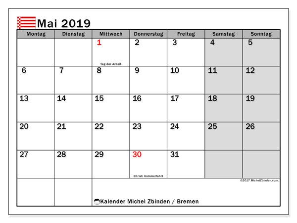 Kalender Mai 2019, mit den Feiertagen in Bremen. Kalender Feiertage frei zum ausdrucken.