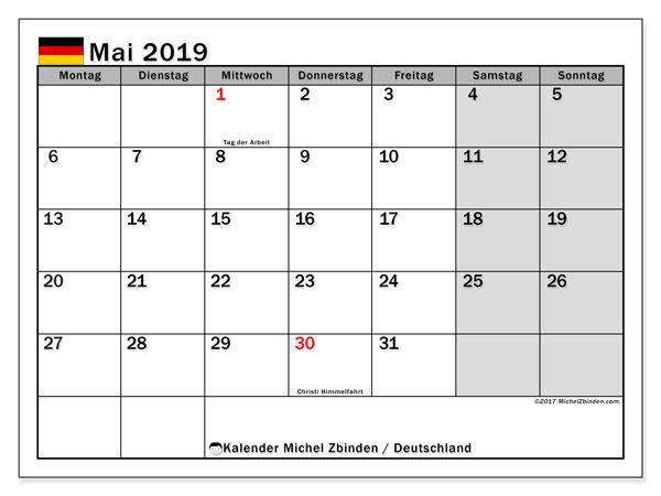 Kalender für Mai 2019, mit Feiertagen Deutschland. Kostenlos ausdruckbare Planer.