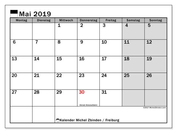 Kalender für Mai 2019, mit Feiertagen des Kantons Freiburg. Kostenloser Kalender zum ausdrucken.