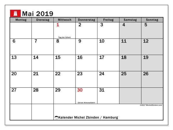 Kalender für Mai 2019, mit Feiertagen Hamburg. Zeitplan zum kostenlosen ausdrucken.