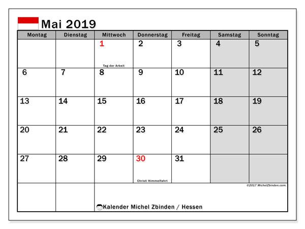 Kalender für Mai 2019, mit Feiertagen Hessen. Kalender zum kostenlosen ausdrucken.