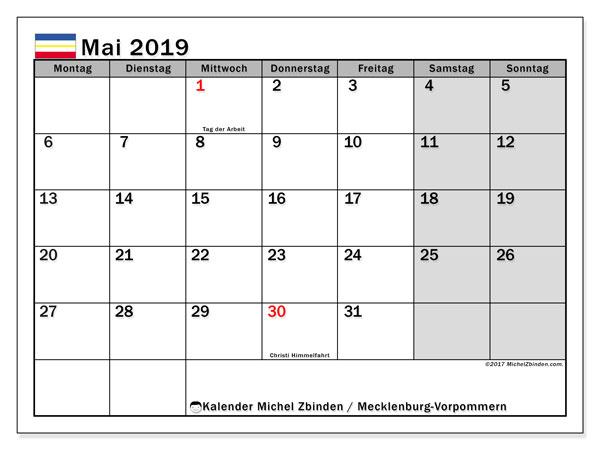 Kalender für Mai 2019, mit Feiertagen Mecklenburg-Vorpommern. Kostenlos ausdruckbare Kalender.