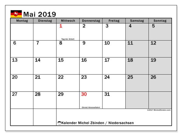 Kalender für Mai 2019, mit Feiertagen Niedersachsen. Kostenlos ausdruckbare Zeitplan.