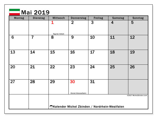 Kalender für Mai 2019, , mit Feiertagen Nordrhein-Westfalen. Kostenlos ausdruckbare Planer.