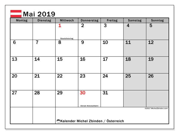 Kalender für Mai 2019, mit Feiertagen in Österreich. Monatlicher Kalender zum kostenlosen ausdrucken.