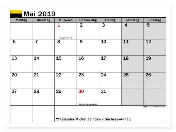 Mai 2019 Kalender  - Sachsen-Anhalt. Kalender zum drucken: Offizielle Feiertage.