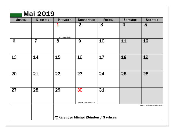 Kalender für Mai 2019, mit Feiertagen Sachsen. Monatlicher Zeitplan zum kostenlosen ausdrucken.