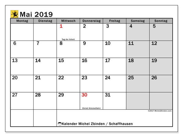 Kalender für Mai 2019, , mit Feiertagen des Kantons Schaffhausen. Kalender zum kostenlosen ausdrucken.