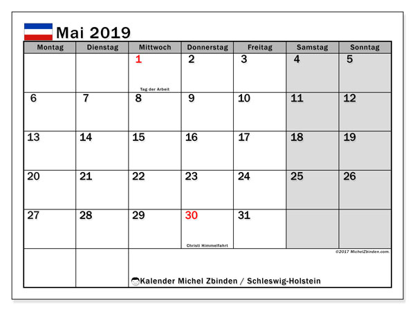 Kalender für Mai 2019, mit Feiertagen Schleswig-Holstein. Kalender für den Monat zum kostenlosen Ausdrucken.