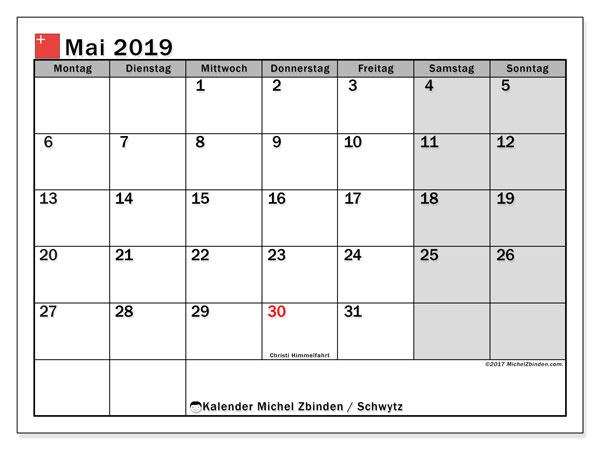 Kalender für Mai 2019, , mit Feiertagen des Kantons Schwytz. Planer zum kostenlosen ausdrucken.