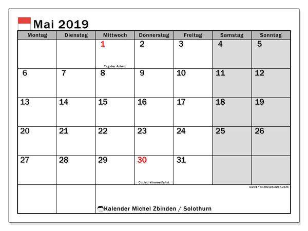 Kalender für Mai 2019, , mit Feiertagen des Kantons Solothurn. Monatskalender zum kostenlosen ausdrucken.