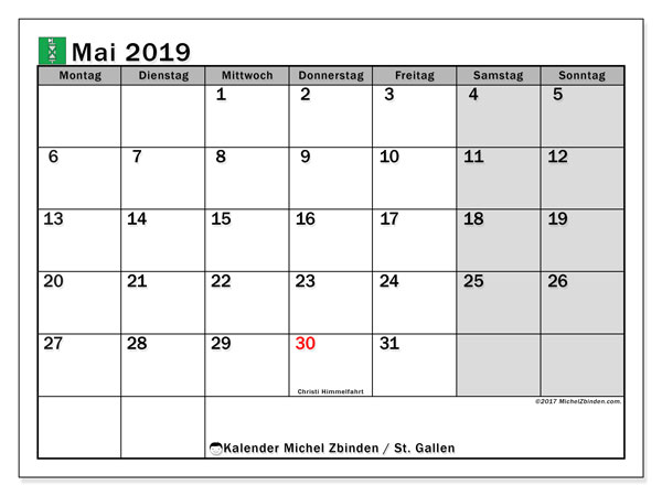 Kalender für Mai 2019, mit Feiertagen des Kantons St. Gallen. Monatlicher Zeitplan zum kostenlosen ausdrucken.