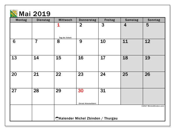Kalender für Mai 2019, mit Feiertagen des Kantons Thurgau. Kostenloser Planer zum ausdrucken.