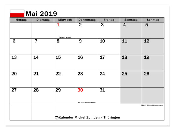 Kalender für Mai 2019, , mit Feiertagen Thüringen. Monatskalender zum kostenlosen ausdrucken.