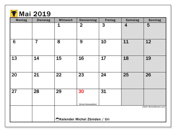 Kalender für Mai 2019, mit Feiertagen des Kantons Uri. Kostenlos ausdruckbare Planer.