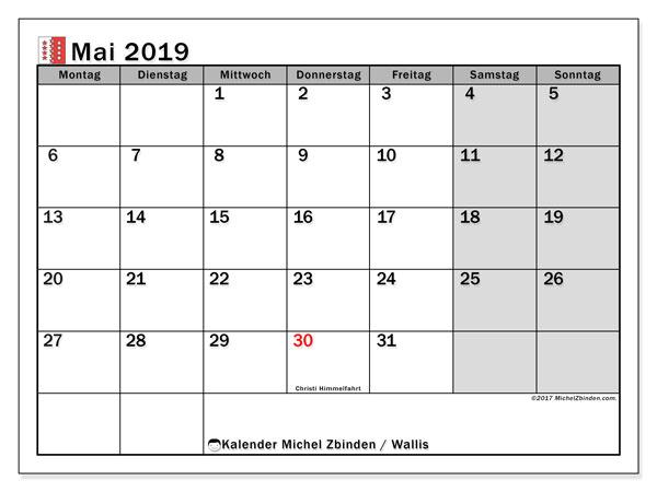 Kalender für Mai 2019, mit Feiertagen des Kantons Wallis. Kostenlos ausdruckbare Planer.