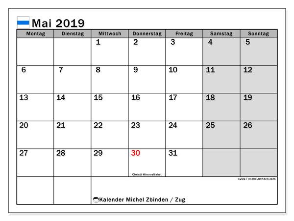 Kalender für Mai 2019, mit Feiertagen des Kantons Zug. Kalender zum kostenlosen ausdrucken.