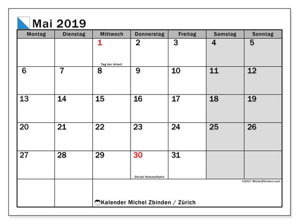 Kalender für Mai 2019, mit Feiertagen des Kantons Zürich. Planer zum kostenlosen ausdrucken.