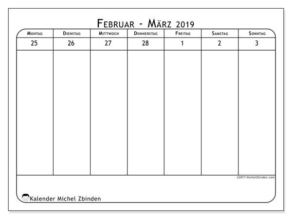 Kalender März 2019, 43-1MS. Wochenkalender zum kostenlosen ausdrucken.