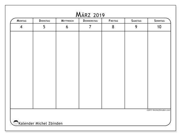 Kalender März 2019, 43-2MS. Wöchentlicher Kalender zum kostenlosen ausdrucken.