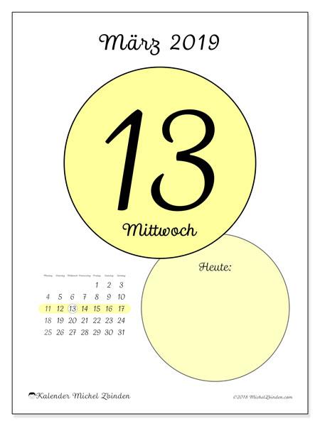 Kalender März 2019, 45-13MS. Täglicher Kalender zum kostenlosen ausdrucken.