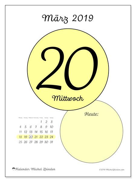 Kalender März 2019, 45-20MS. Täglicher Kalender zum kostenlosen ausdrucken.