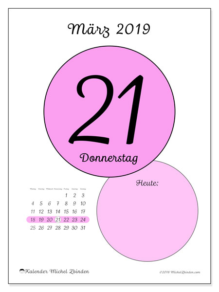 Kalender März 2019, 45-21MS. Täglicher Kalender zum kostenlosen ausdrucken.
