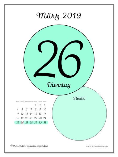 Kalender März 2019, 45-26MS. Täglicher Kalender zum kostenlosen ausdrucken.