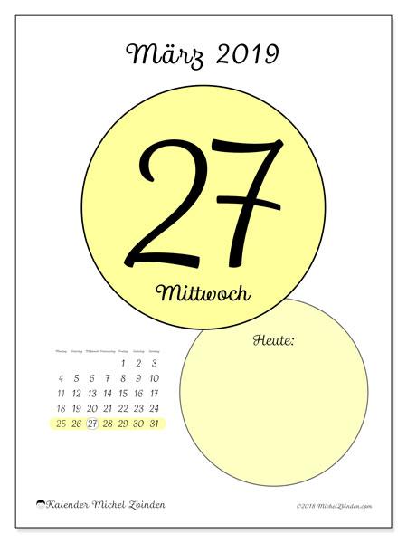 Kalender März 2019, 45-27MS. Täglicher Kalender zum kostenlosen ausdrucken.