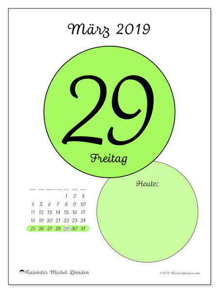 Kalender März 2019, 45-29MS. Täglicher Kalender zum kostenlosen ausdrucken.