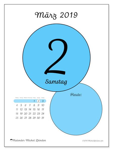 Kalender März 2019, 45-2MS. Täglicher Kalender zum kostenlosen ausdrucken.