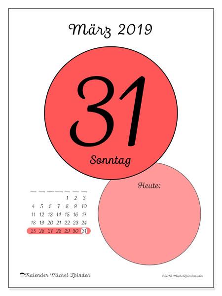 Kalender März 2019, 45-31MS. Kalender für den Tag, um kostenlos zu drucken.