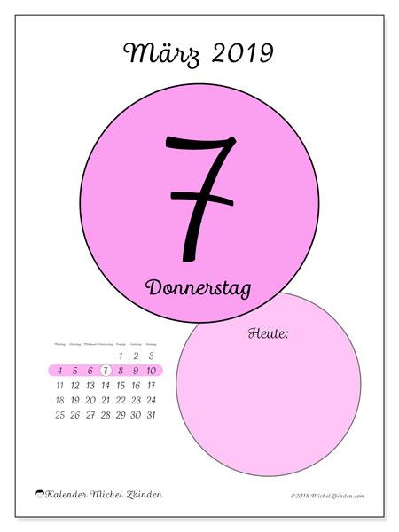 Kalender März 2019, 45-7MS. Täglicher Kalender zum kostenlosen ausdrucken.