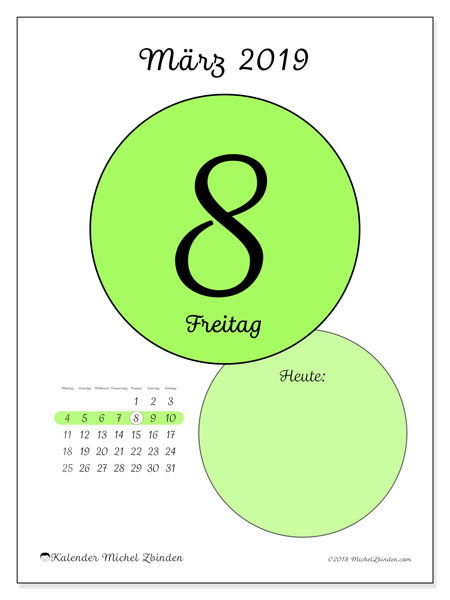 Kalender März 2019, 45-8MS. Kalender für den Tag, um kostenlos zu drucken.
