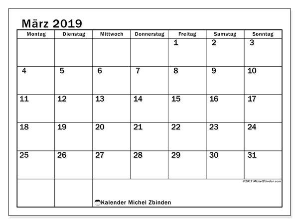 Kalender  März 2019, 50MS