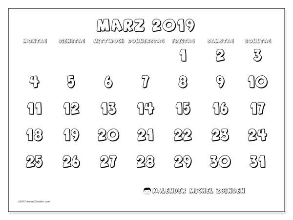 Kalender  März 2019, 56MS