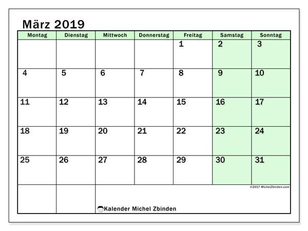 kalender m u00e4rz 2019  ms