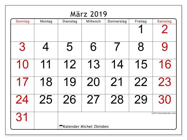 Kalender  März 2019, 62MS