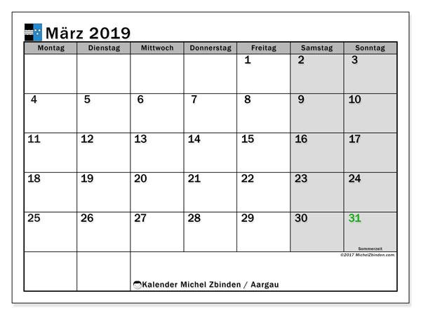 Kalender für März 2019, mit Feiertagen des Kantons Aargau. Monatlicher Kalender zum kostenlosen ausdrucken.