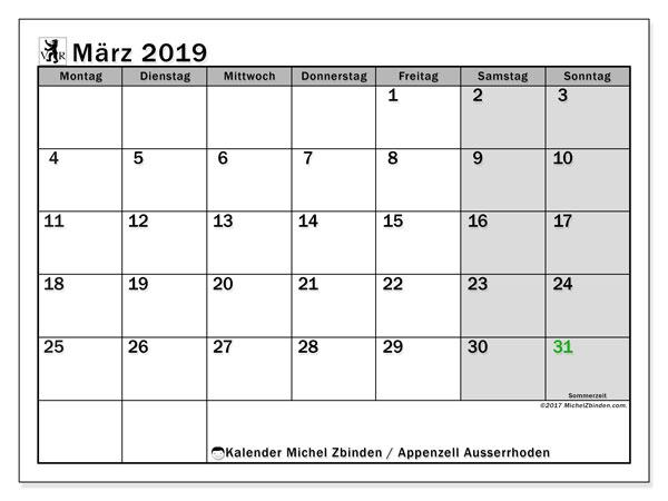 Kalender für März 2019, mit Feiertagen des Kantons Apenzell Ausserrhoden. Kostenloser Zeitplan zum ausdrucken.