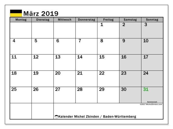 März 2019 Kalender  - Baden-Württemberg. Kalender zum drucken: Offizielle Feiertage.